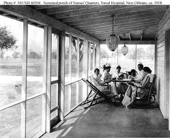 U.S. Nurses playing cards, reading, and relaxing circa 1918. U.S. Navy History and Heritage Command Photo.