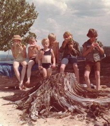 Summer 1974 with my brothers, my sister, and my cousin.   Yes I'm the short one in the blue bikini.